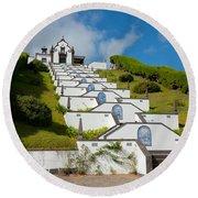 Chapel In Azores Islands Round Beach Towel