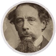 Charles Dickens 1 Round Beach Towel