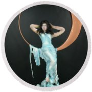 Charles Hall - Creative Arts Program - First Quarter Moon Round Beach Towel
