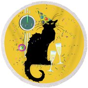Chat Noir New Years Party Countdown Round Beach Towel