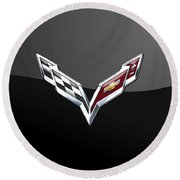 Chevrolet Corvette 3d Badge On Black Round Beach Towel