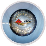 Chevrolet Corvette Badge Round Beach Towel