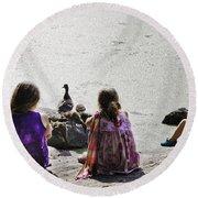 Children At The Pond 5 Round Beach Towel
