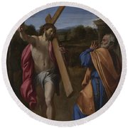 Christ Appearing To Saint Peter On The Appian Way Round Beach Towel