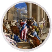 Christ Driving The Money Changers From The Temple Round Beach Towel