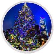 Christmas Tree Near Panther Stadium In Charlotte North Carolina Round Beach Towel