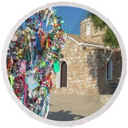 Church Of Profitis Elias - Cyprus Round Beach Towel