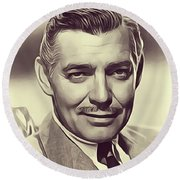 Clark Gable, Vintage Actor Round Beach Towel