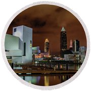 Cleveland Skyline At Night Round Beach Towel