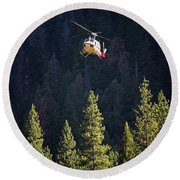 Climber Rescue Operation In Yosemite Round Beach Towel