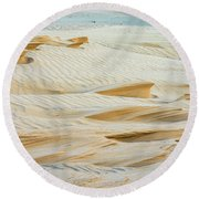 Close-up Of Beautiful Sunlit Ripple Surface Of Sand In Desert  Round Beach Towel
