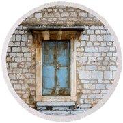 Closed Door Of An Old Chapel In Croatia Round Beach Towel