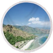 Coast And Beach View Near Dili In East Timor Leste Round Beach Towel