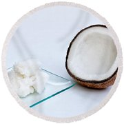 Coconut Oil And Coconut Round Beach Towel