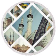 Collage Of Iran Images Round Beach Towel
