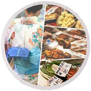 Collage Of Japan Food Images Round Beach Towel