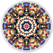Colorful Concentric Abstract Round Beach Towel