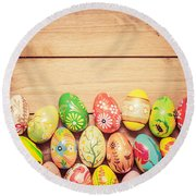Colorful Hand Painted Easter Eggs On Wood Round Beach Towel