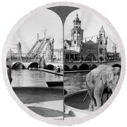 Coney Island: Luna Park Round Beach Towel