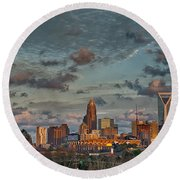Cotton Candy Sky Over Charlotte North Carolina Downtown Skyline Round Beach Towel