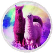 Crazy Funny Rainbow Llama In Space Round Beach Towel