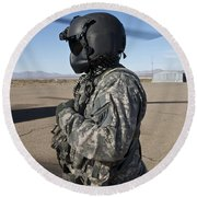 Crew Chief Of A Ch-47 Chinook Stands Round Beach Towel