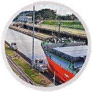 Crossing Panama Canal Round Beach Towel