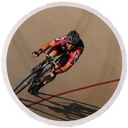 Cycle Racing On The Curve Round Beach Towel