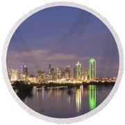Dallas Skyline Twilight Round Beach Towel