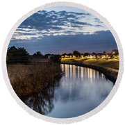 Dawn Over The Town River Round Beach Towel