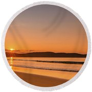 Dawn Seascape With Clouds Round Beach Towel