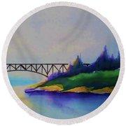 Deception Pass Bridge Round Beach Towel