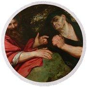 Democritus And Heraclitus Round Beach Towel