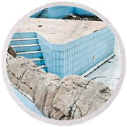 Derelict Swimming Pool Round Beach Towel