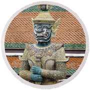 Detail From A Buddhist Temple In Bangkok Thailand Round Beach Towel