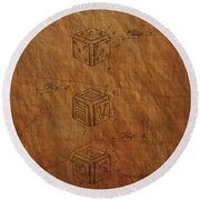 Dice Patent From 1923 Round Beach Towel