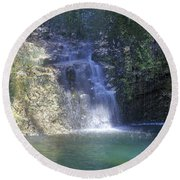 Dripping Springs Falls Round Beach Towel
