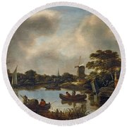 Dutch Landscape With Fishers Round Beach Towel