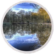 Early Morning Forest Pond Round Beach Towel