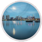 early morning sunrise over city of philadelphia PA Round Beach Towel