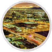 Early Morning Sunrise Over Valley Of Fire And Las Vegas Round Beach Towel