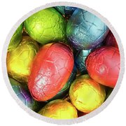 Easter Eggs Round Beach Towel