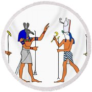 Egyptian Gods And Goddess Round Beach Towel by Michal Boubin
