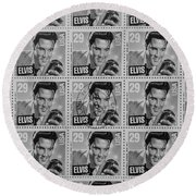 Elvis Commemorative Stamp January 8th 1993 Painted Bw Round Beach Towel
