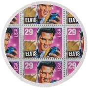 Elvis Commemorative Stamp January 8th 1993 Painted  Round Beach Towel