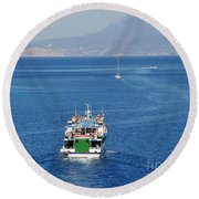 Emborio Harbour On Halki Round Beach Towel