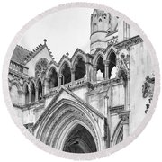 Entrance To Royal Courts Of Justice London Round Beach Towel