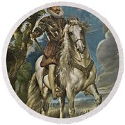 Equestrian Portrait Of The Duke Of Lerma Round Beach Towel