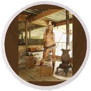 Everglades Cowgirl Round Beach Towel