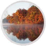Fall Sunrise At Cox Hollow Lake In Governor Dodge State Park Round Beach Towel